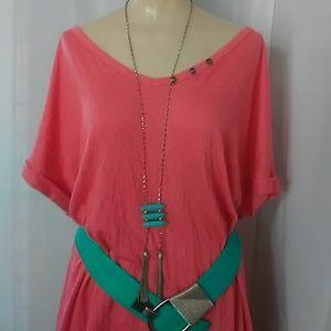 Long Faux turquoise necklace